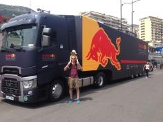 Een truck van Red Bull Racing